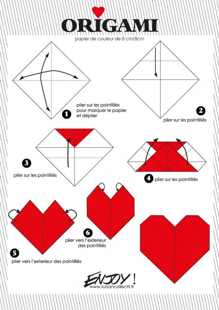 Un joli petit coeur en origami tout simple à réaliser :).