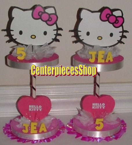 KITTY Centerpiece or Cake Topper 3D Table Top by CenterpiecesShop