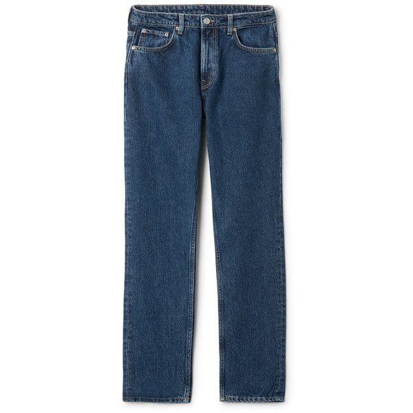 Seattle Win Jeans - Blue - Jeans - Weekday ($56) ❤ liked on Polyvore featuring jeans, high-waisted jeans, blue jeans, blue high waisted jeans, blue colour jeans and loose fit jeans