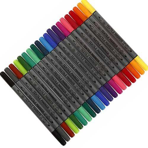 Textilstifte: 24 oder 6 Stück, auch einzeln in schwarz - für selbst designte T-Shirts und Stoffe