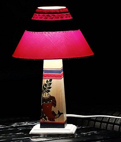 Madhubani Hand painted Wooden Lamp