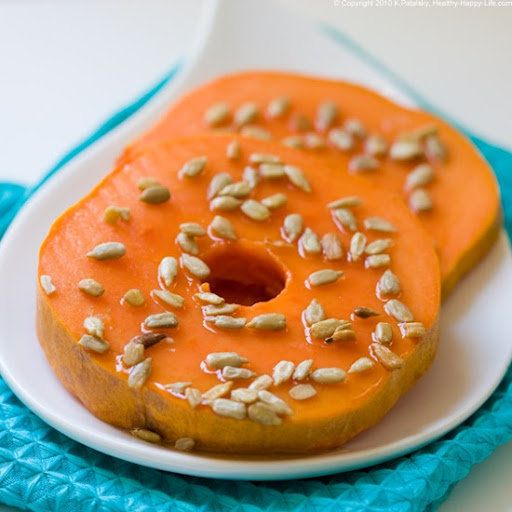 Papaya Doughnuts: Here's a doughnut that's definitely diet-approved! A drizzle of agave syrup and a squeeze of lime enhance the natural flavor of papaya, and the sunflower seeds add protein, along with a nice crunch. It's a great addition to any breakfast or brunch menu.