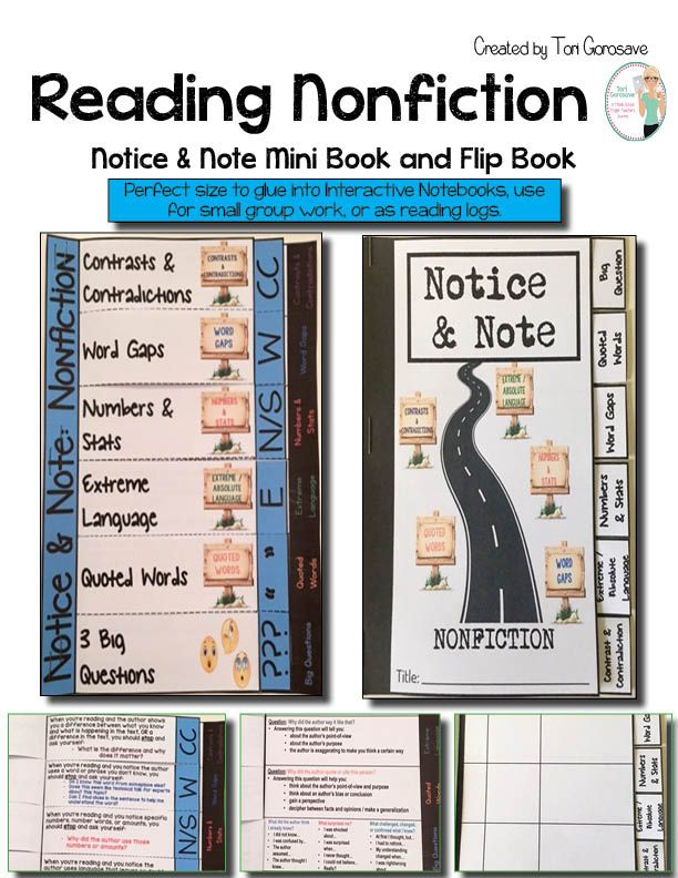 Reading Nonfiction: Notice and Note Mini Book and Flip Book. I created these foldables based on the book, Reading Nonfiction: Notice and NoteStances, Signposts, and Strategies, by Beers and Probst. These foldables can be used with any type or level of nonfiction text. A great in-class strategy is to use them inside of Interactive Notebooks!
