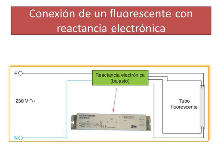 Conexionado de lámpara fluorescente con balasto electrónico.