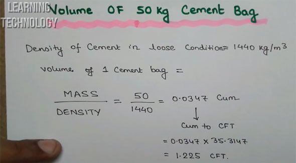 Volume Of 1 Bag 50 Kg Cement
