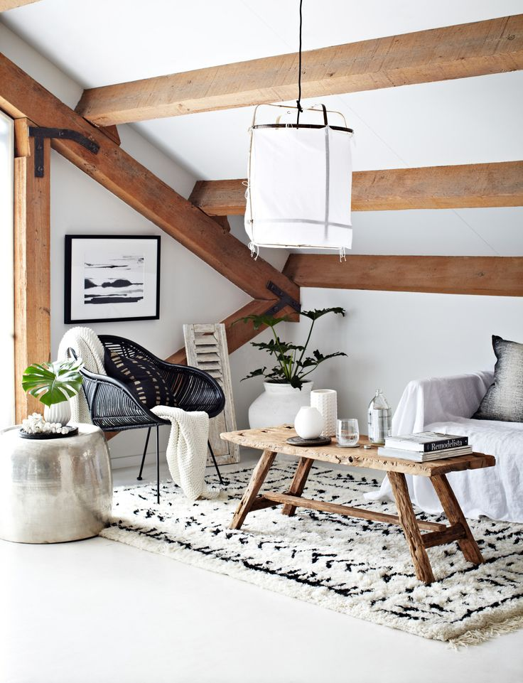 Attic living room with exposed beams