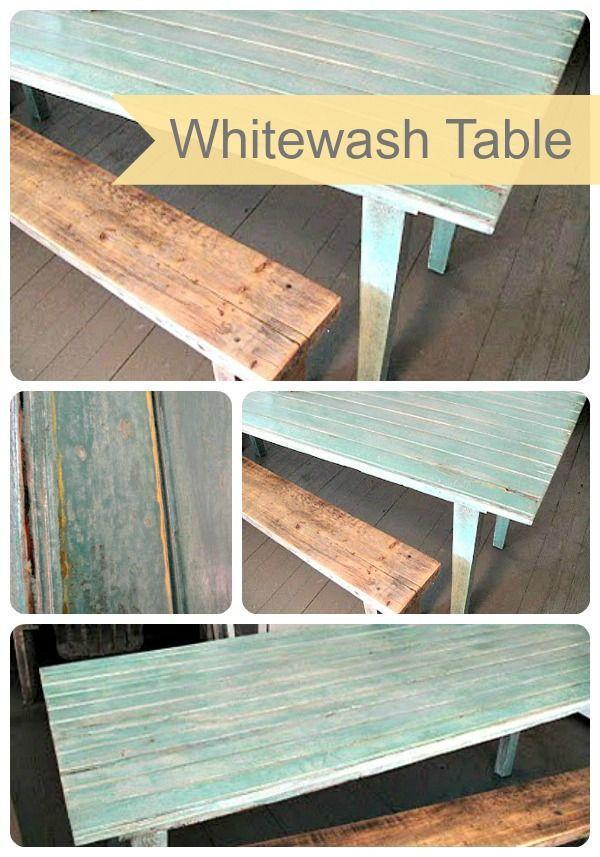 DIY Whitewash Table- easy tutorial for an AMAZING look! From Frugal Farmhouse Design on www.SomewhatSimple.com #DIY #Whitewash