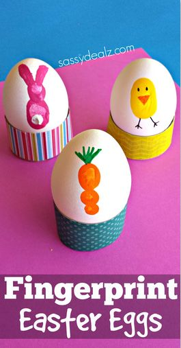 Fingerprint Easter Egg Decorating for Kids #Easter craft | CraftyMorning.com