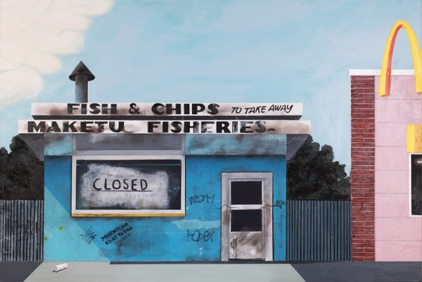 Robin White's 1970's Maketu Fish & Chip shop in Milton's world has now fallen fowl of corporate America.  Follow the link for full details and magnified images. Original - Available. Limited Edition Signed Print $165