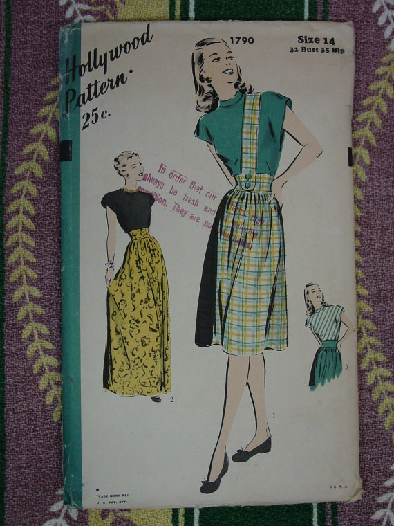 Vintage Pattern 1940's Hollywood No1790 by auntnonniesnest on Etsy, $12.00