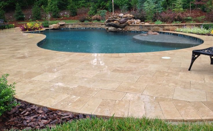 Premier Stone - u0027Noceu0027 Travertine Pool Deck | Backyard | Pinterest |  Swimming pool decks, Pools and Swimming pools