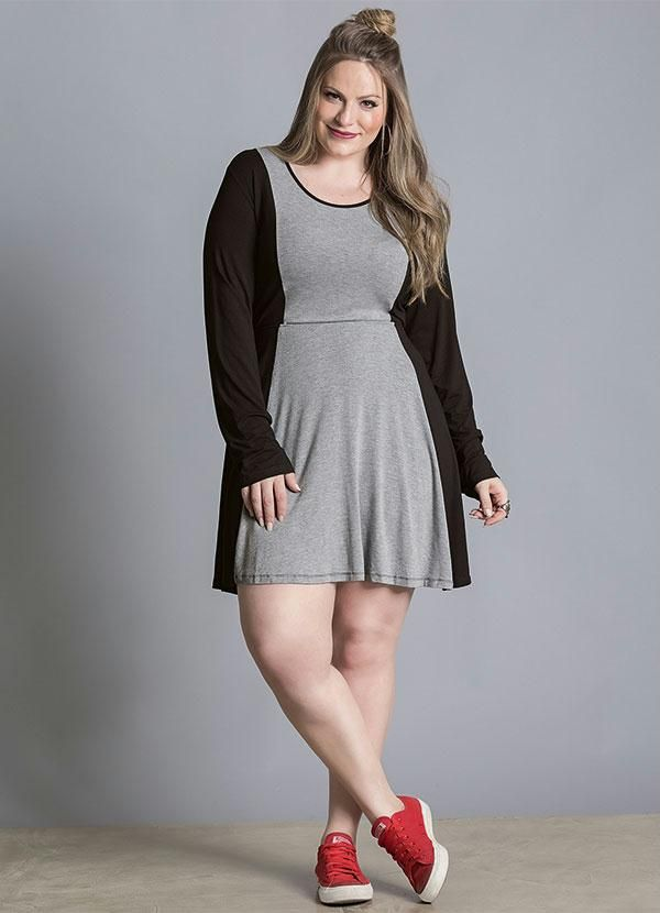 Vestido Bicolor (Preto e Mescla) Plus Size