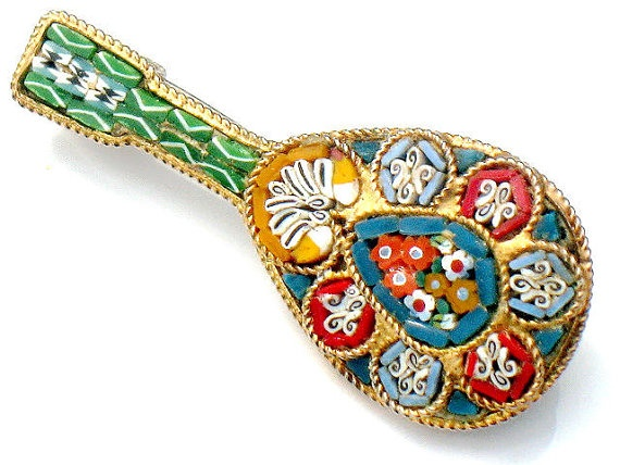 Italian Mosaic Mandolin Brooch Vintage 1960s Mediterranean Jewelry Tile Art by JewelryQuestDesign, $25.99