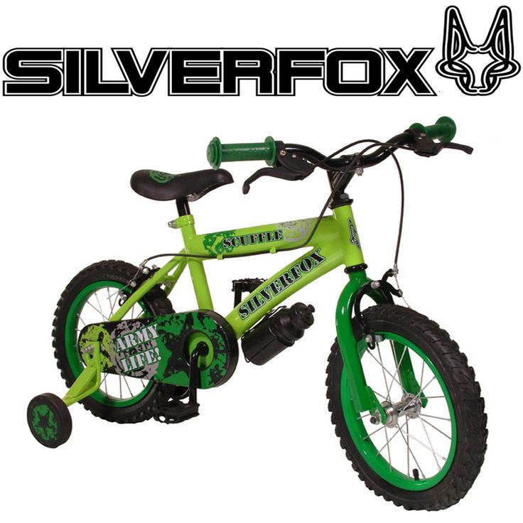 SilverFox Scuffle 14 inch Boys Bike with Stabiliseres Green