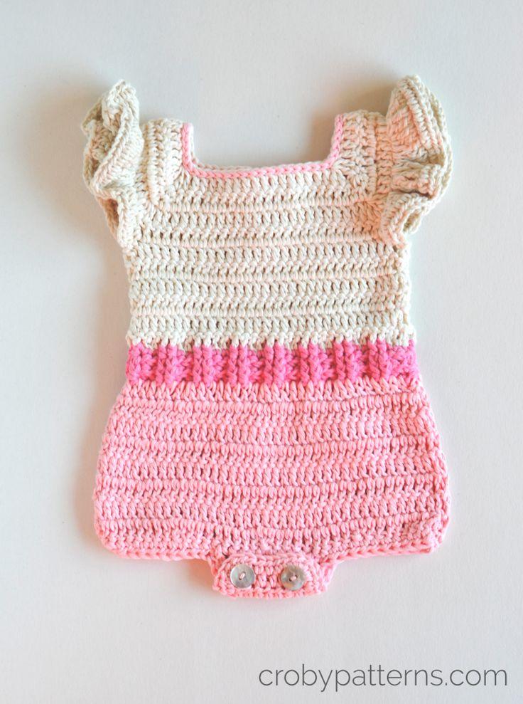 Croby Patterns   Crochet Baby Romper Pattern – Pink Flamingo