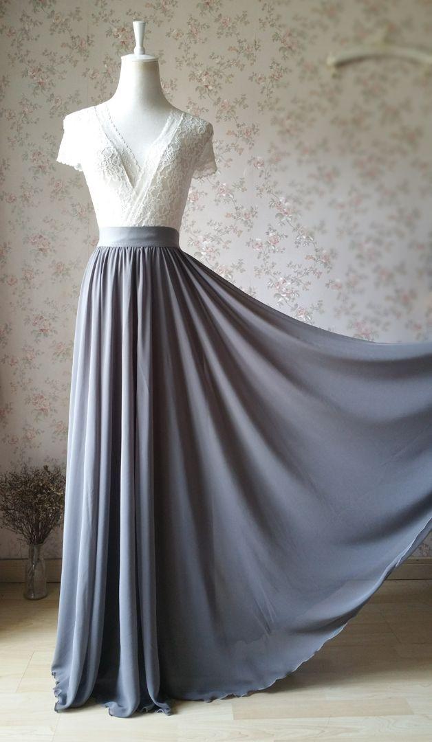 Handgemachte graue Maxirock, graue Strand Röcke, Brautjungfer Rock, klein, zierlich und P ……