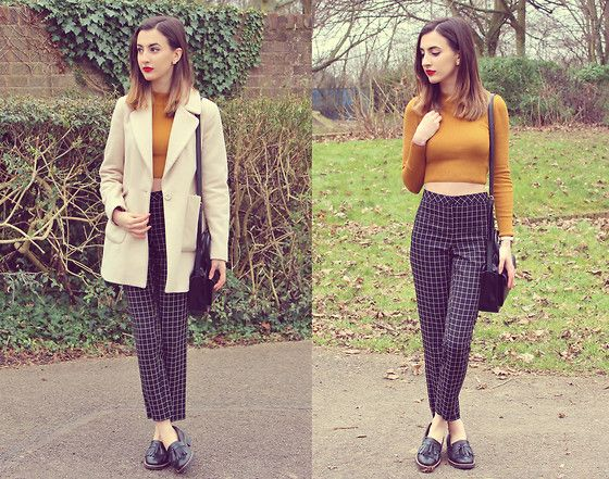 Mustard Check Get this look: http://lb.nu/look/7172988  More looks by Katie Z: http://lb.nu/katieloves  Items in this look:  Zara Coat, Primark Trousers, Office Loafers, Topshop Mustard Jumper   #chic #formal #vintage