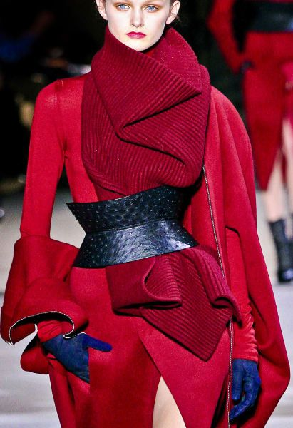 """Suggestion, under a big belt... one of our shawl, we do not have that """"strawberry look"""" but it would look as chic as Haider Ackermann Fall  2013"""