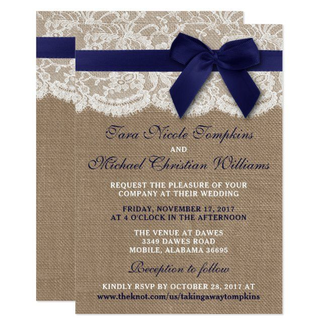 lace and Burlap Tri-fold with attached RSVP Deposit to get started All-N-One wedding Invitation Navy