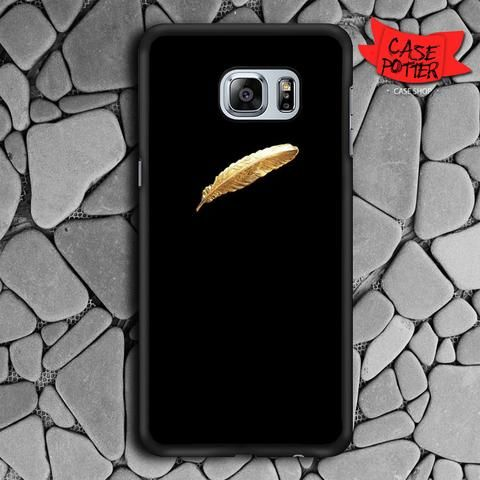 Black Gold Feather Samsung Galaxy S7 Edge Black Case