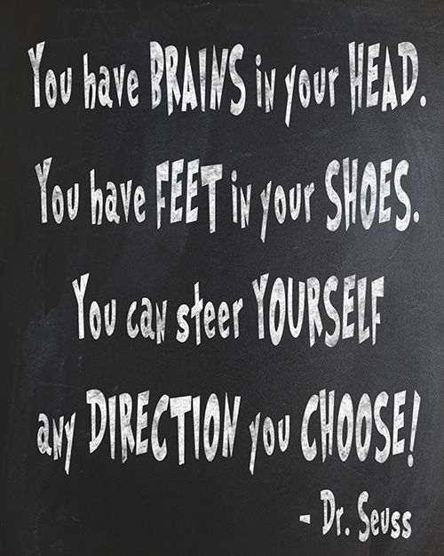 "Free Dr. Seuss Chalkboard Printable - Oh, The Places You'll Go! ""You have brains in your head, you have feet in your shoes. You can steer yourself any direction you choose!""    #printables #graduation #quotes"