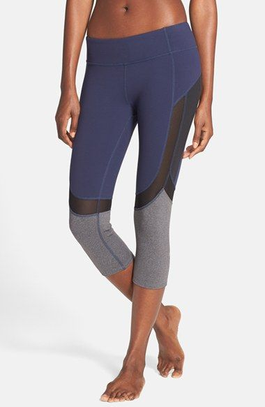 Size small; navy and black;  Alo 'Curvature' Mesh Inset Capri Leggings available at #Nordstrom