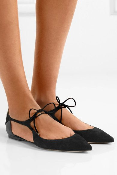 Jimmy Choo - Vanessa Cutout Suede And Leather Point-toe Flats - Black - IT38