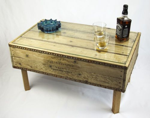 Reclaimed Vintage Wooden Crate Coffee Table Natural Finish