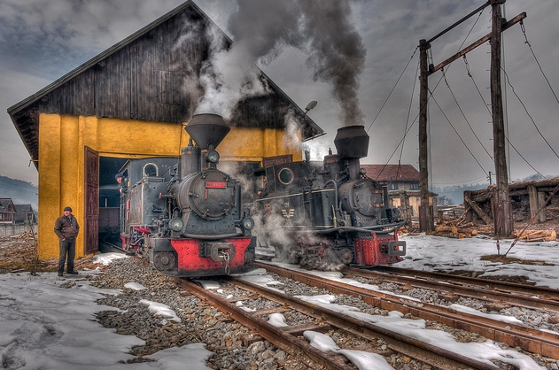 Mocanita Romania 2011,   Steam locomotive at the depot. by Hans Brinkel