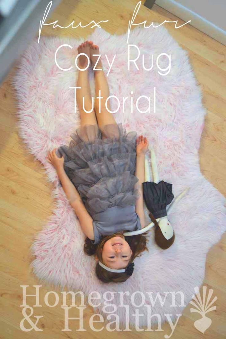 "Probably my favorite DIY ever. Using Faux Fur to create a super cute and cozy ""bearskin"" rug!"