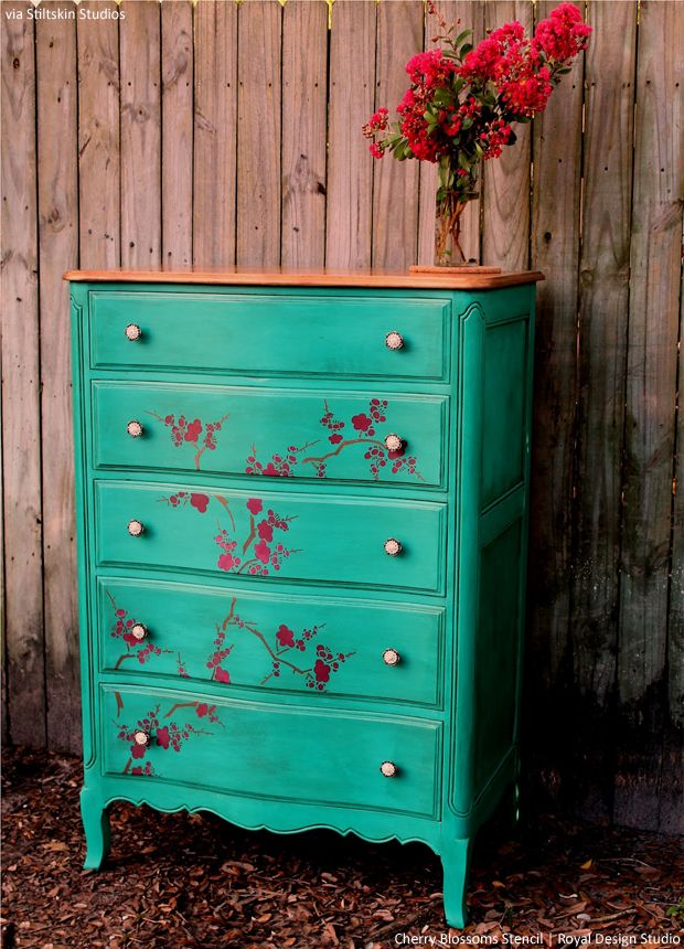 DIY Painted Furniture Cherry Blossoms Stencil by Royal Design Studio via Stilskin Studio