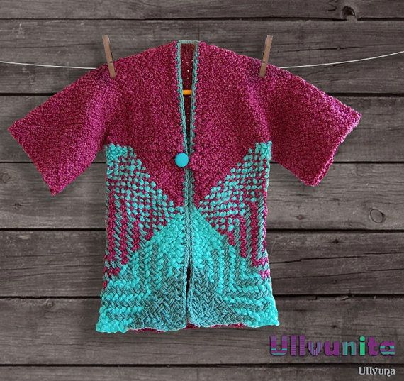 Purple and turquoise baby girl long cardigan with by Ullvuna