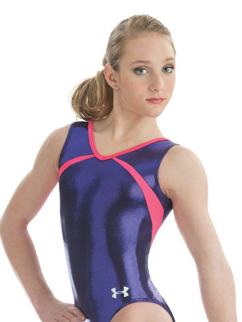Under Armour® v-neck and back leotard in imperial purple mystique and calypso nylon/spandex features symmetrical side style lines that wrap around to the back. Includes matching hair scrunchie.
