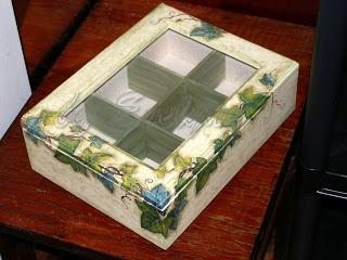 tea bag box: painting, fabric, napkin decoupage