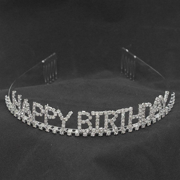 """""""Happy Birthday"""" Crystal Rhinestone Tiara $10.95 - #279522 crystal  rhinestone  tiara  measures  7/8""""  high x  5""""  wide.  For  more  info  please  contact - Shoot  for  the  Moon  Jewelry  Designs  (850) 230-9983 #tiara #happybirthday #hairaccessories"""