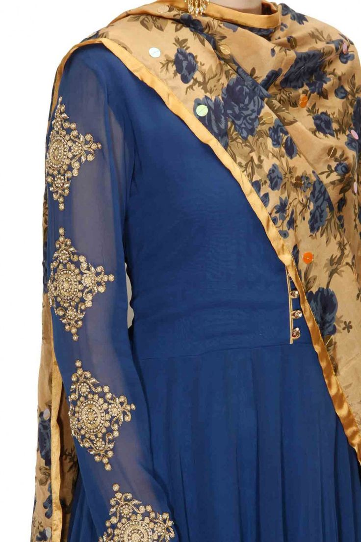 Royal blue kasab work anarkali set with printed dupatta available only at Pernia's Pop-Up Shop.