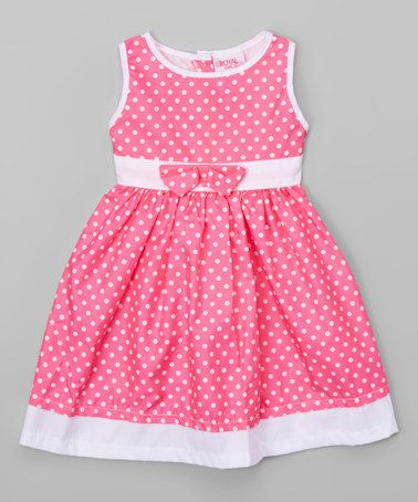 Look what I found on #zulily! Hot Pink & White Polka Dot A-Line Dress - Toddler & Girls #zulilyfinds