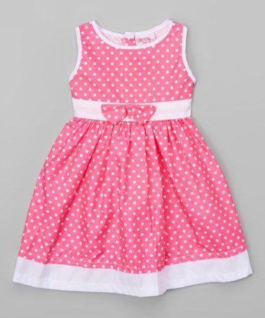 Look what I found on #zulily! Hot Pink & White Polka Dot A-Line Dress - Toddler & Girls #zulilyfinds