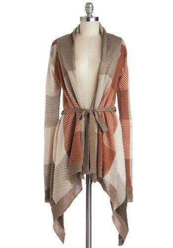 Season for Snuggling Cardigan - Checkered / Gingham, Long Sleeve, Better, Mid-length, Knit, Multi, Orange, Tan / Cream, Handkerchief, Belted...