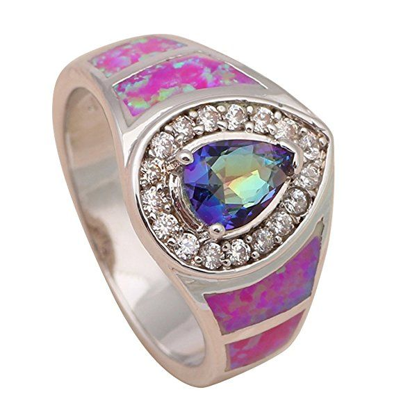 T-Jewelry Fashion Multi-Color Jewelry Purple Fire Opal Jewelry Ring Silver Plated Ring For Women Rings (7)