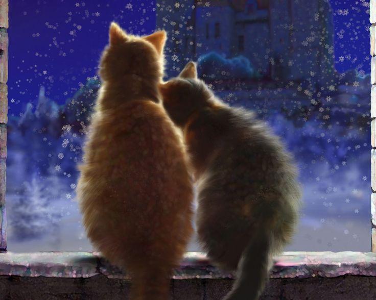 Скачать обои зима, снег, любовь, кошки, снежинки, ночь, замок, окно, арт, пара, подоконник, раздел кошки в разрешении 1280x1024
