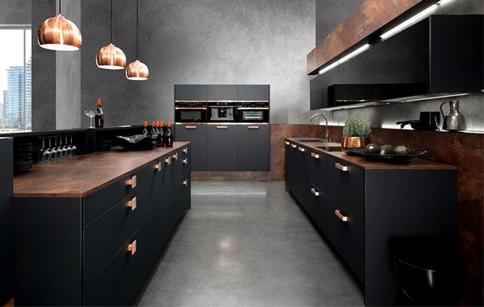 Interior Design Trends 2015 The Dark Color Schemes are Back topaz kitchen copper supermatt black