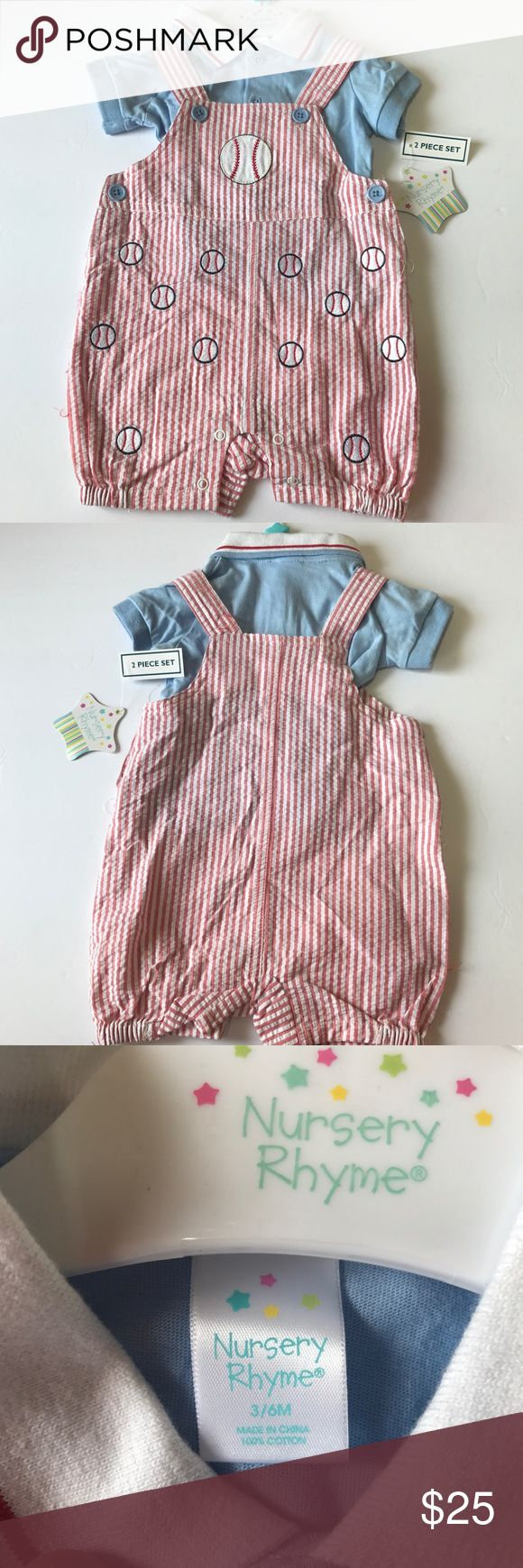 Nursery Rhyme Baseball Smocked Short All 2Pcs Set Paired with a classic polo, these shortalls lend charm and style to his wardrobe. Crafted with a lightly textured seersucker fabric and baseball appliques that keep your little slugger looking adorably handsome, this duo is perfect for any baby boy. 2-piece set Button closure Collar neck Short sleeves Seersucker fabric Machine washable Cotton, polyester Import Nursery Rhyme Matching Sets