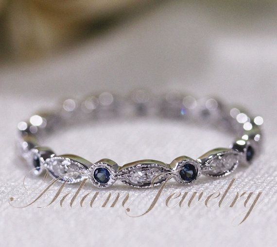Stock! 14k White Gold Blue Sapphires & Diamonds Ring/ Band Art Deco Full Eternity Band / Wedding Ring/ Promise Ring/ Engagement Ring on Etsy, $280.00
