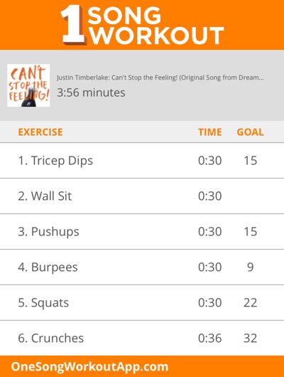Justin Timberlake's Can't Stop the Feeling one song workout #fitness #exercise