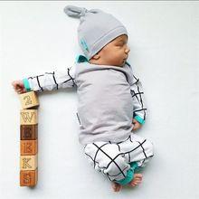 3 PCS Conjunto de Crianças Recém-nascidas Do Bebê Das Meninas Dos Meninos Outfits Clothes Set T-shirt Casual Tops de Manga Longa + Legging + Chapéu da Roupa Do Bebê alishoppbrasil