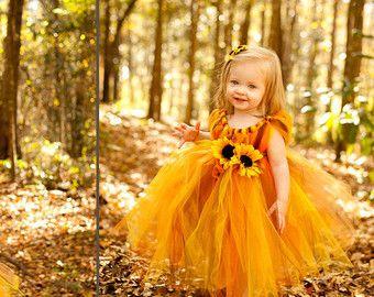 Flower Girl Dress Fall tutu dress size 12 by AllDressedUpCouture