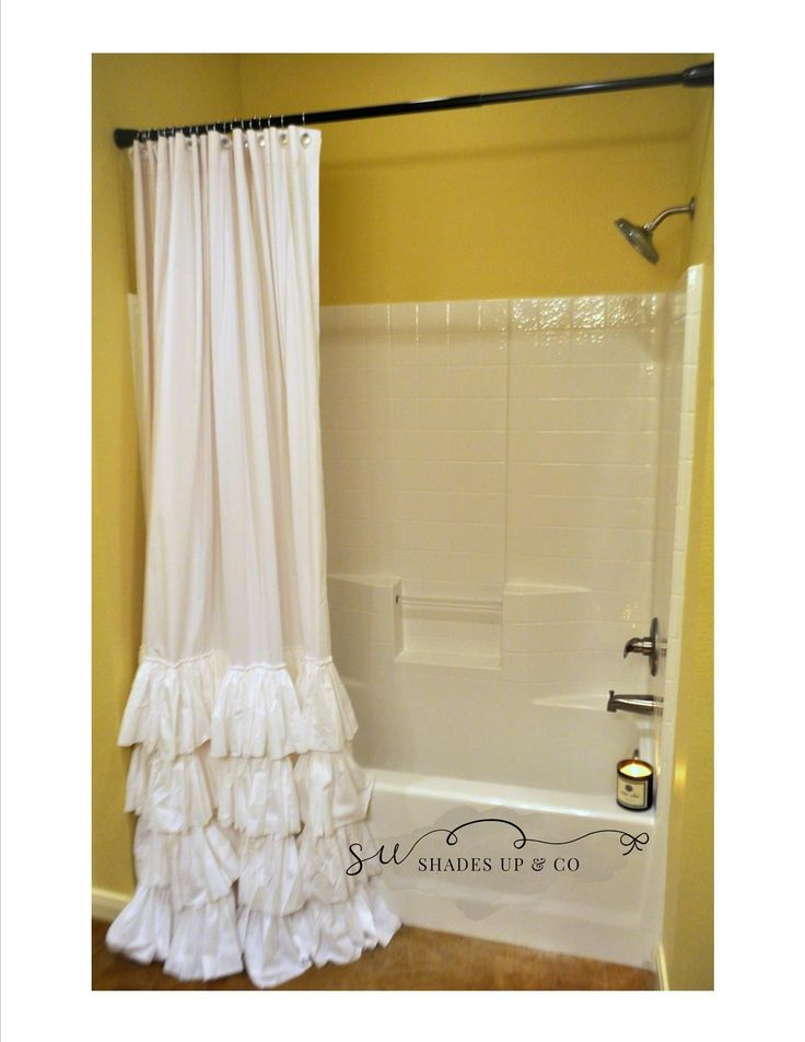shower curtain, 4 ruffle, shabby chic shower curtain, bathroom