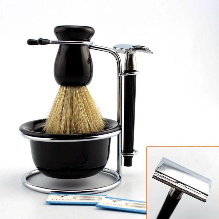 4 in 1 Black Shave Stand + Bristle Shaving Brush + Plastic Bowl + Safety Razor Set - Shaving Thyme