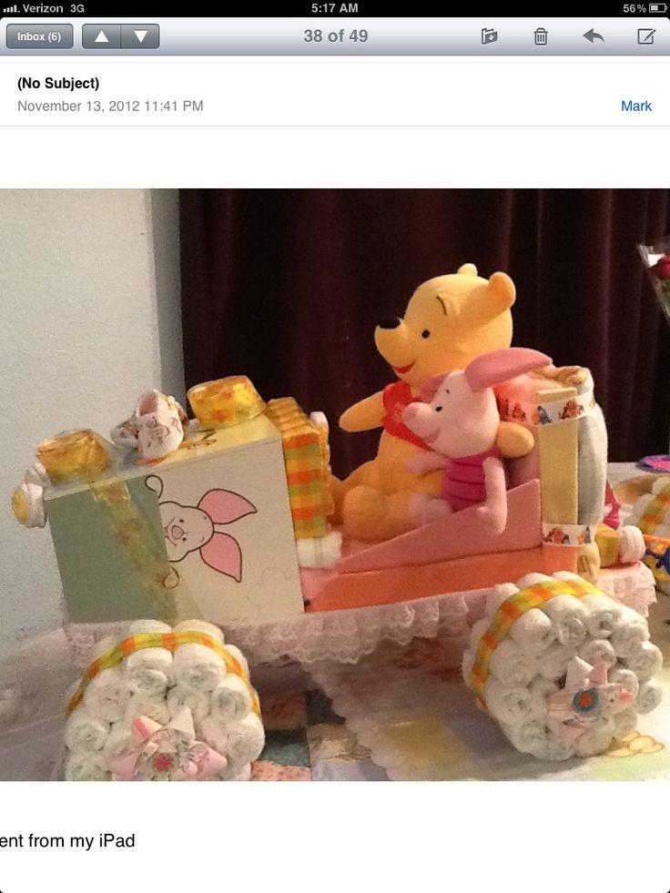 Winnie the Pooh Diaper Cake Car